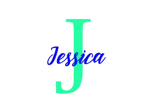 Name with large letter vinyl decal car decal yeti cup decal for Letter decals for cups