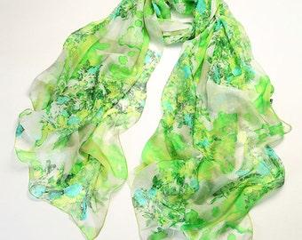 Green Floral Silk Scarf - Green Silk Scarf with Floral Print - Green Floral Printed Silk Scarf - Floral Silk Scarf - AS2016-2