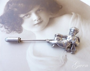 Antique Pin Brooch or hat pin Cherub Cupid Angel Sterling Silver Jewel