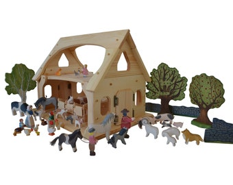 Wooden toy barn-Wooden toy stable-Montessori Barn-Waldorf toy Barn-Wooden toys- natural children's toy-Ultimate Toy Barn