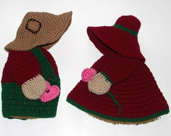 2 Broom Dolls - Overall Sam & Sunbonnet Sue