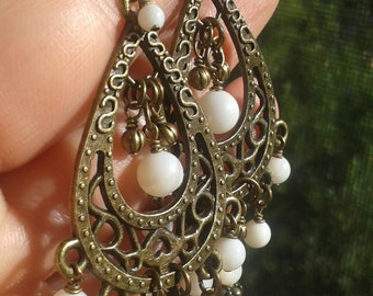 Bronze Chandelier Earrings with Pearl Shell Dangles, Long Earrings, CascadeFREE USA SHIPPING