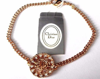 Christian Dior Symbol Bracelet Gold Plated with Crystals New (D)