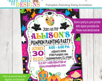 Pumpkin Painting Party - Halloween Art Party - Printable Invitation - Witch - Pumpkin Decorating -