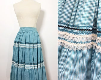 Vintage Skirt Small / Prairie Skirt / Blue Gingham Skirt / Full Skirt / Ruffle Skirt / 1960s Skirt / 1950s Skirt
