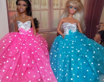 Pick Hot Pink or Bright Blue Ballgown.  Fits old and new  Dolls.