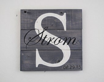 Rustic Distressed Pallet Wood Personalized Family Sign with Family Initial and Last Name / Personal Wedding /Anniversary Sign - SMALL SIZE