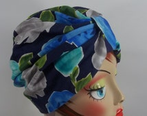 Cotton, fashion turban, hat, blue floral, full turban, chemo, vintage style, designer, size Sm, Med, L, XL. Free shipping in USA.