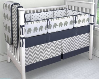 Navy and Gray Elephant/dot/chevron crib bedding set