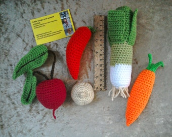 Crochet vegetables set, pretend play food, Montessoritoys, educational toys, play kitchen, treasure basket, miniature toys, nursery deco