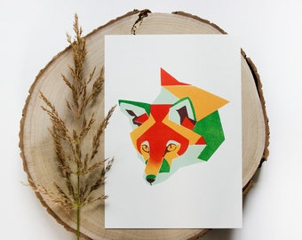 Fox Geometric Illustration Print on a4 & a3 size