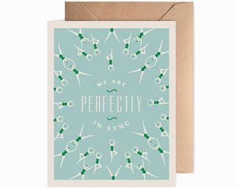 Perfectly in Sync Greeting Card | synchronized swimming blank card, sweetheart, love