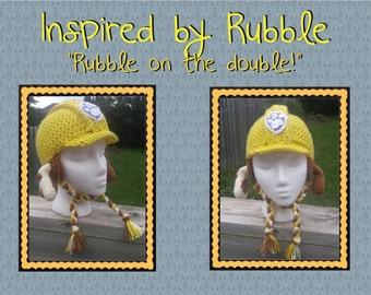 Inspired by Rubble - Paw Patrol Crochet Earflap Hat
