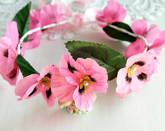 Pink Violet Crown, Bridal Crown, Flower Girl Halo, Woodland Crown, Festival Crown, Pink Flower Crown, Pink Girls Crown, Flower Girl Circlet