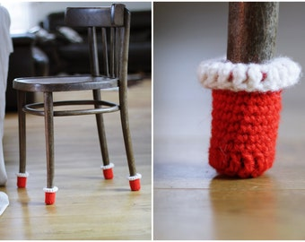 Christmas decoaration chair socks,Red Chair covers,Floor protector, 8 wool socks, chair leg socks, table socks,Eco-friendly gift