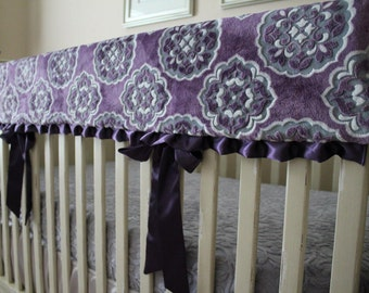 MarBella Barcelona Violeta with White Embossed Vine Reversible Rail Guard Cover with Purple Satin Ties - Crib Bedding, Minky, Bumperless
