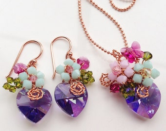 Colourful jewellery set /delicate jewelry/fashion Jewelry/Multicolour Jewelry/Flower Jewelry/Soring Summer Jewelry/Glamorous jewelry/Chic