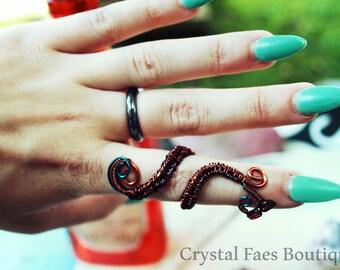 Garnet swirl adjustable ring