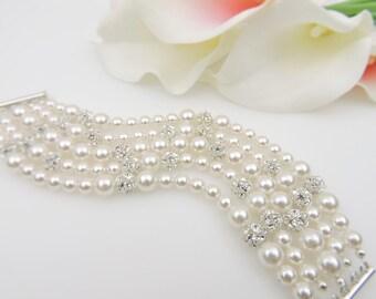 FREE United States Shipping 5 Strand Swarovski Pearl And Rhinestone Bridal Bracelet Statement Bridal Bracelet Statement Bridal Jewelry