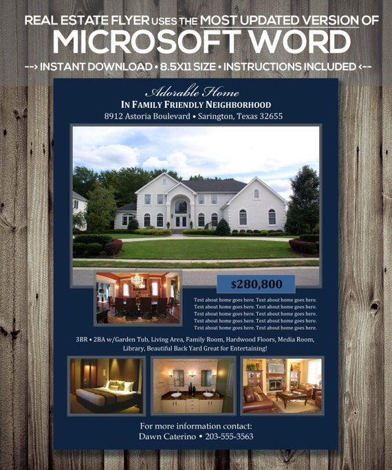 REAL ESTATE FLYER Template Microsoft Word .docx Version