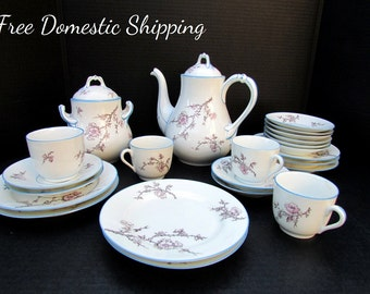 Cherry Blossom China Set, Service for 4 Coffee Tea, Japanese Cherry Blossoms, Coffee Pot China Set, Large Sugar Bowl, Free US Shipping