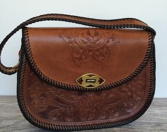 ON SALE Vintage Tooled Leather Handbag, Handcrafted Floral Design