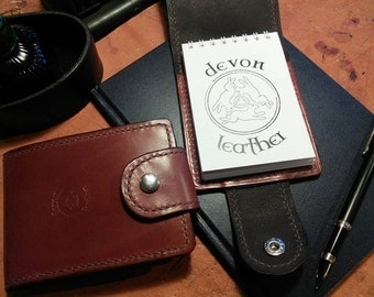 Leather notebook cover, lined with calfskin ***plus free notebook**** exclusive to Devon Leather