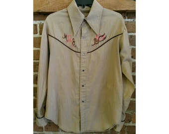 Vintage 70s bird embroidery tan chambray western shirt womens
