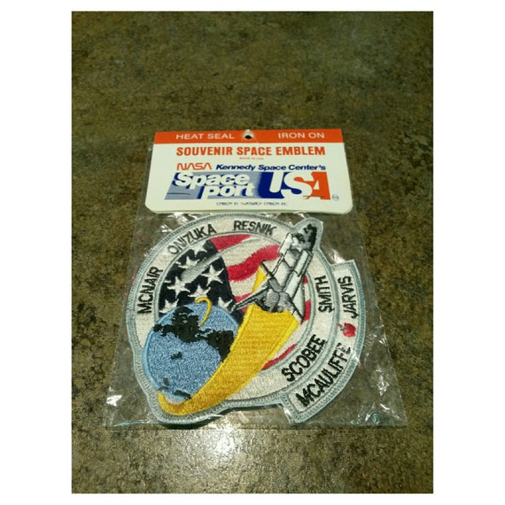 Vintage NASA Challenger space shuttle iron on patch 80s