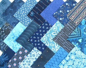 "BLUE BEAUTIES 4"" Fabric Quilt Squares  Pre-Cuts Charm Blocks"