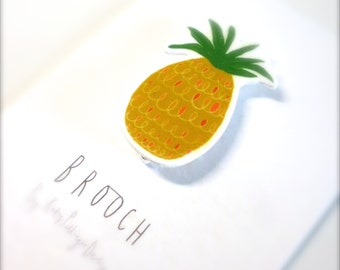 A little Pineapple Shrink Plastic Brooch
