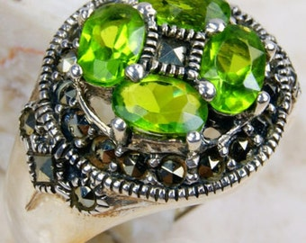 Peridot Green CZ, Marcasite & .925 Sterling Silver Ring Size 7.75 , M192