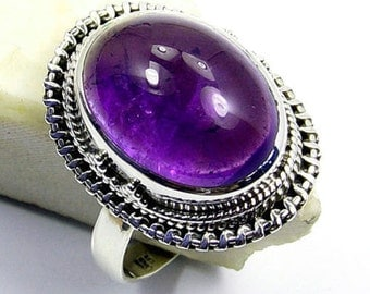 Classic Amethyst & .925 Sterling Silver Ring Size 7.5 Jewelry , S338