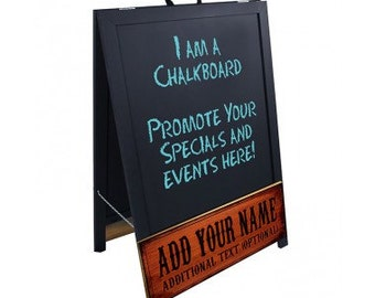 A-Frame Sidewalk Chalkboard Sign - Double Sided - Wood - Add Your Name - Design 2