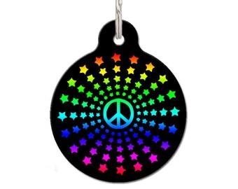 Peace Star ID Tag   FREE Personalization