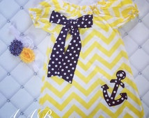 Nautical Dress,  Nautical Outfit, Chevron Dress, Girls Easter Outfit
