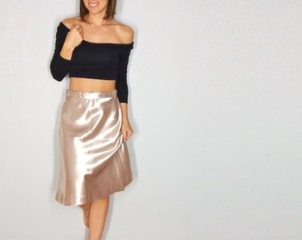 Champagne Skirt, Rose Gold Shiny High Waist Midi Skirt, Summer Outfit, Small xs