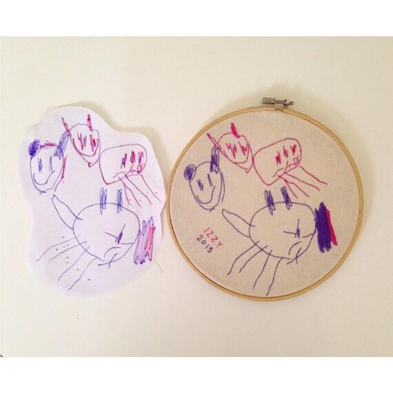 Custom kids art embroidery hoop wall hanging