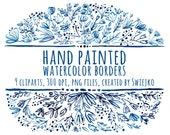 Digital Clipart, Watercolor Floral Borders, hand painted clip art, lace, scrapbooking, stationery, wedding invites, indigo, decorative edges