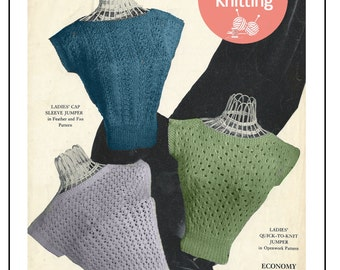 1950s Rockabilly Style Sweater - Vintage Knitting Pattern - PDF  Instant Download