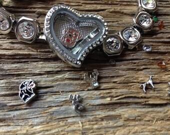 Hunter's Delight floating charm bracelet: duck hunting bracelet deer hunter jewelry country girl bracelet