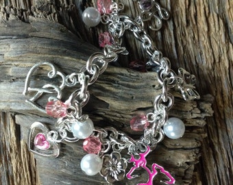 Pink Browning buck and doe heart Valentines charm bracelet: pink and pearl charm bracelet with deer in love