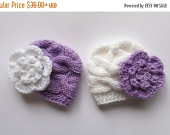 ON SALE in JULY Baby Twins Hats - Newborn Baby Twins Hats  - Knitted Hats for Twins - Newborn Baby Hat Photo Prop - Newborn Baby Twins