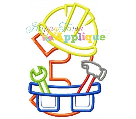 Construction Birthday Number 3 Machine Embroidery Design