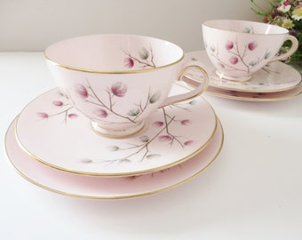 Tuscan vintage 1960's pink tea trio,  Moondrop pattern, Pink teacup, Tea, Tuscan china