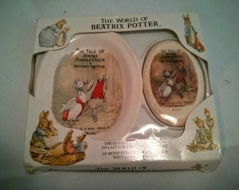 Vintage Peter Rabbit (The tale of Jemima Puddle Duck) Soap and Soap dish set