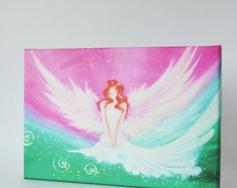 """Canvas art angel stretched on wooden frame: """"Connected with you"""" , contemporary fine art print, guardian angel already streched on frame"""