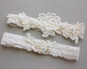 Lace Wedding Garter Set, Something Blue Garter Set, Lace Garters with Aqua Blue Crystals, Ivory or White Lace - Bridal Garter Belt