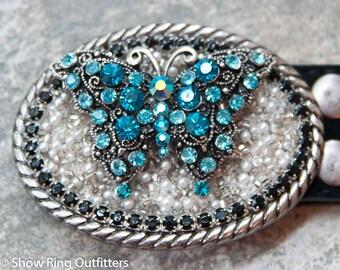 Rhinestone Butterfly Buckle, Cowgirl Bling Belt Buckle, Western Belt Buckle, Zircon Blue Bling Buckle