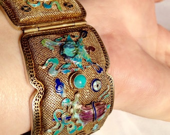 Antique Chinese Art Deco  Silver Filigree Panel Bracelet with Enamel Cloisonné and Turquoise Cabochons